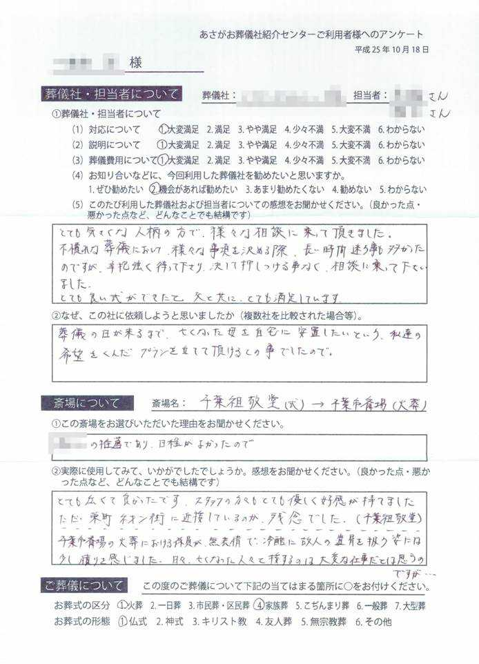 千葉祖敬堂での葬儀社の口コミ、大変満足、機会があれば勧めたい、2013-10-18